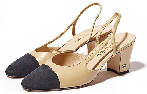 Chanel;Sling Pumps; Two Toned; Black Nude; Designer Dupes