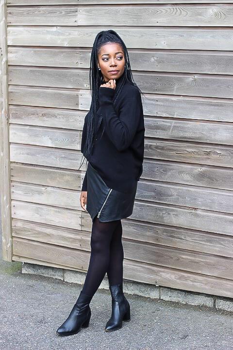 Allblack; Mango; Zara, Cutouts; Plaid; Leather; schwarz; black;