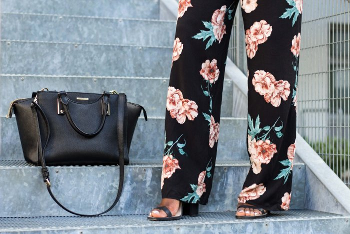 Floral Print Jumpsuit; Forever21; Leather Bag; Hugo Boss